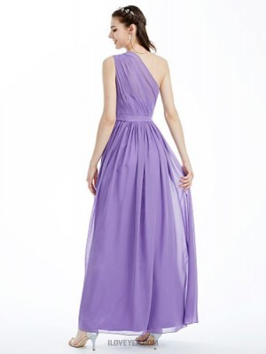 A Line Sexy One Shoulder Ankle Length Chiffon Bridesmaid Dress with Sashes Ribbons Side Draped Pleats
