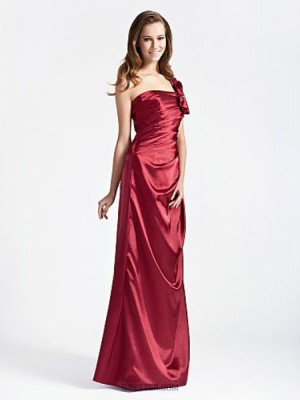 A Line Princess Sexy One Shoulder Floor Length Stretch Satin Bridesmaid Dress with Bow Ruching