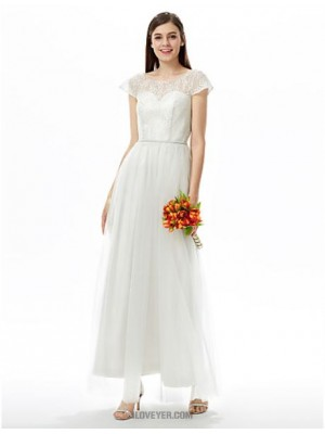 A Line Jewel Neck Ankle Length Lace Tulle Bridesmaid Dress with Sash Ribbon