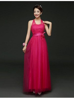 A Line Halter Ankle Length Satin Tulle Bridesmaid Dress with Flower Sash Ribbon