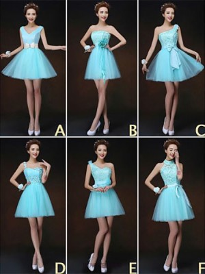 A Line Princess High Neck Strapless Sexy One Shoulder V neck Short Mini Tulle Bridesmaid Dress with Flower Sash Ribbon