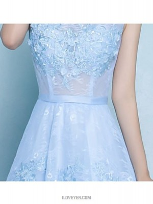A Line Jewel Neck Floor Length Lace Bridesmaid Dress with Sash Ribbon