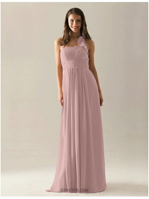 A Line Halter Floor Length Chiffon Bridesmaid Dress with Draping Ruffles Pleats Ruching
