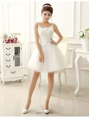 A Line Princess Strapless Short Mini Lace Tulle Bridesmaid Dress with Flower Lace