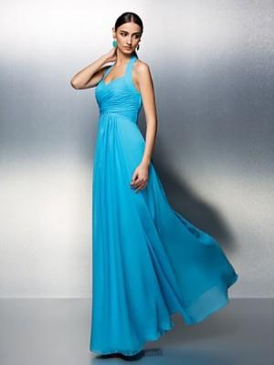 A Line Halter Floor Length Chiffon Bridesmaid Dress with Sash Ribbon Criss Cross Ruching