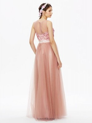 A Line Jewel Neck Floor Length Tulle Bridesmaid Dress with Applique Flower Sashes Ribbons Sequins Pleats