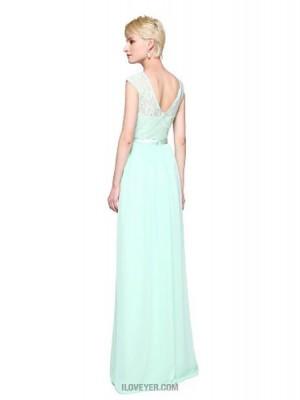 A Line Bateau Neck Floor Length Chiffon Lace Bridesmaid Dress with Appliques Pleats