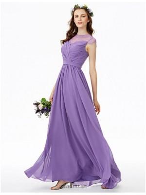 A Line Jewel Neck Floor Length Chiffon Lace Bridesmaid Dress with Lace Sash Ribbon Criss Cross Pleats