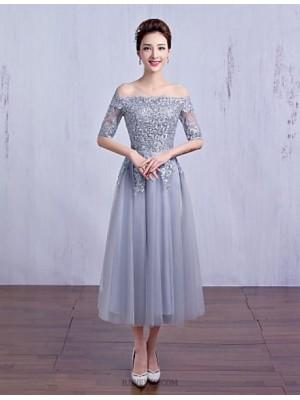 A Line Bateau Neck Tea Length Crepe Bridesmaid Dress with Crystal Detailing Lace