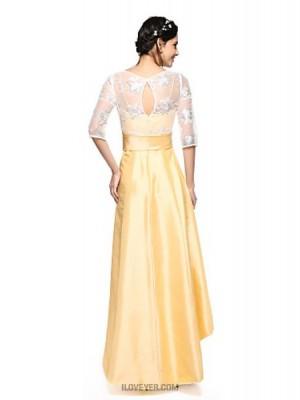 A Line Jewel Neck Asymmetrical Lace Taffeta Bridesmaid Dress with Bow Sash Ribbon