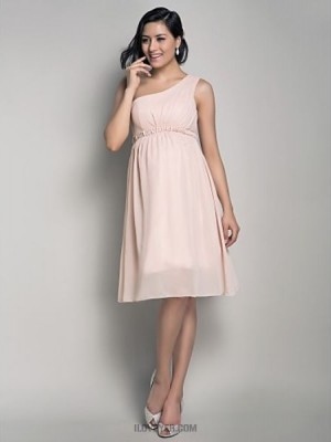 A Line Princess Sexy One Shoulder Knee Length Chiffon Bridesmaid Dress with Draping Side Draping
