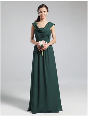 A Line Cowl Neck Floor Length Chiffon Bridesmaid Dress with Draping Ruching Pleats