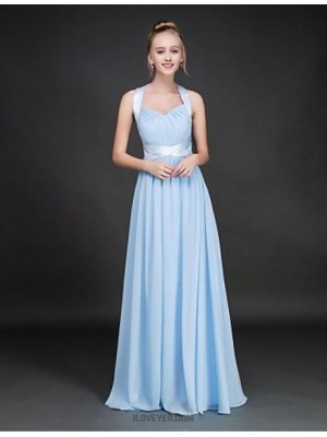 A Line Halter Floor Length Chiffon Bridesmaid Dress with Draping Sash Ribbon