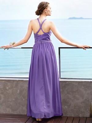 A Line Jewel Neck Floor Length Chiffon Bridesmaid Dress with Beading Lace Sash Ribbon Pleats