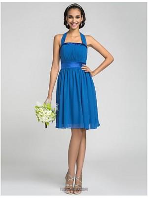 A Line Halter Knee Length Chiffon Stretch Satin Bridesmaid Dress with Draping Bandage
