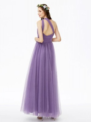 A Line Sexy One Shoulder Ankle Length Tulle Bridesmaid Dress with Sash Ribbon Side Draping Ruching Pleats