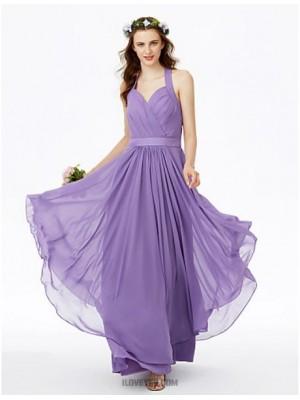 A Line Halter Floor Length Chiffon Bridesmaid Dress with Sashes Ribbons Criss Cross Pleats