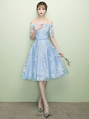 A Line Off the shoulder Tea Length Lace Tulle Bridesmaid Dress with Sash Ribbon