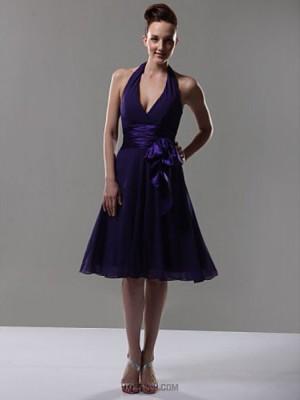 A Line Halter V neck Knee Length Chiffon Bridesmaid Dress with Bow Sash Ribbon