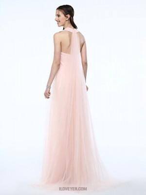 A Line Halter Floor Length Tulle Bridesmaid Dress with Sash Ribbon Pleats