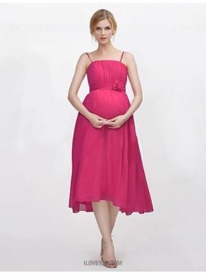 A Line Spaghetti Straps Tea Length Chiffon Bridesmaid Dress with Draping Flower