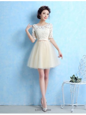 A Line Jewel Neck Short Mini Tulle Bridesmaid Dress with Bow