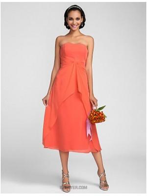 A Line Strapless Tea Length Chiffon Bridesmaid Dress with Draping Ruffles