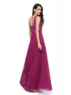 A Line Jewel Neck Floor Length Chiffon Lace Bridesmaid Dress with Sash Ribbon