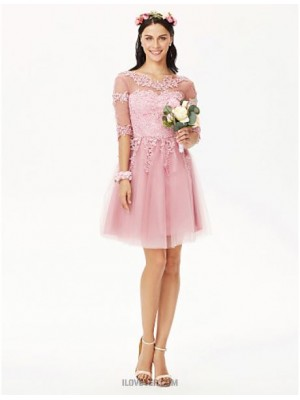A Line Jewel Neck Knee Length Lace Tulle Bridesmaid Dress with Appliques Pleats