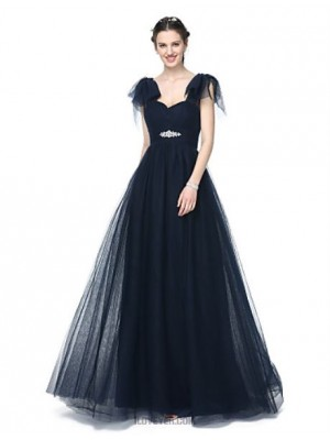 A Line Off the shoulder Floor Length Tulle Bridesmaid Dress with Beading Pleats