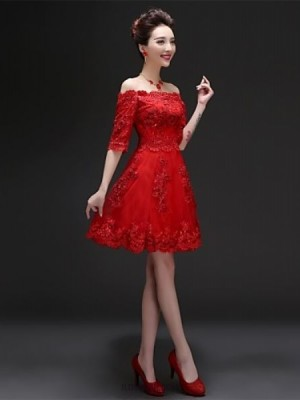 A Line Bateau Neck Knee Length Tulle Bridesmaid Dress with Ruffles