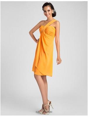 A Line Princess Sexy One Shoulder Sweetheart Knee Length Chiffon Bridesmaid Dress with Draping Criss Cross Side Draping