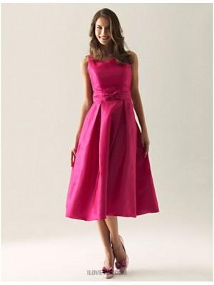 A Line Princess Straps Tea Length Taffeta Bridesmaid Dress with Bow Draping