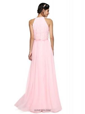 A Line Halter Floor Length Chiffon Bridesmaid Dress with Criss Cross Ruching