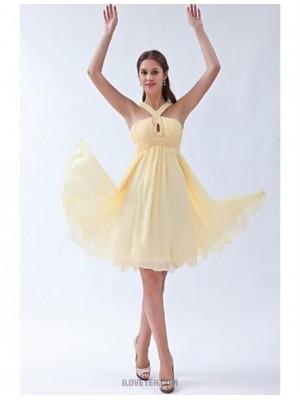 A Line Halter Knee Length Chiffon Bridesmaid Dress with Beading Ruching