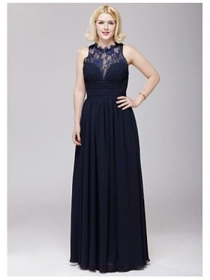 A Line Jewel Neck Floor Length Chiffon Lace Bridesmaid Dress with Lace Sash Ribbon Side Draping