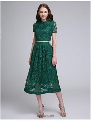 A Line Jewel Neck Tea Length Lace Bridesmaid Dress with Lace