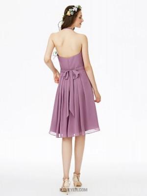 A Line Halter Knee Length Chiffon Bridesmaid Dress with Bow Sashes Ribbons Pleats