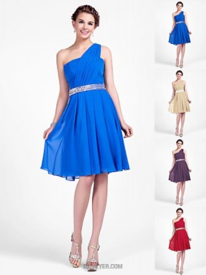 A Line Princess Sexy One Shoulder Knee Length Chiffon Bridesmaid Dress with Beading Draping Side Draping