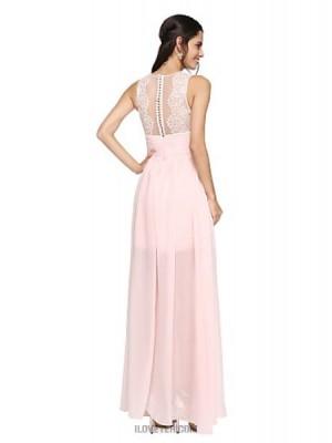 A Line Bateau Neck Asymmetrical Chiffon Lace Bridesmaid Dress with Lace Pleats