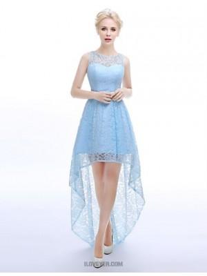 A Line Jewel Neck Asymmetrical Lace Bridesmaid Dress with Sash Ribbon