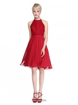 A Line Jewel Neck Knee Length Chiffon Lace Bridesmaid Dress with Lace Sash Ribbon