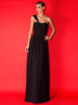 A Line Sexy One Shoulder Floor Length Chiffon Bridesmaid Dress with Criss Cross Ruching Crystal Brooch