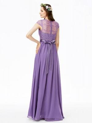 A Line Jewel Neck Floor Length Chiffon Lace Bridesmaid Dress with Bow Lace Sash Ribbon Pleats