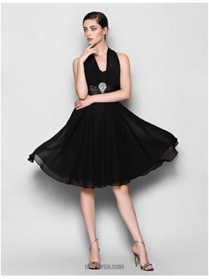 A Line Halter Knee Length Chiffon Bridesmaid Dress with Crystal Brooch