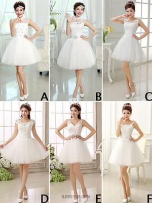 A Line Princess High Neck Jewel Neck V neck Short Mini Tulle Bridesmaid Dress with Lace Sash Ribbon