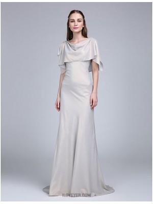 A Line Cowl Neck Sweep Brush Train Chiffon Bridesmaid Dress with Pleats