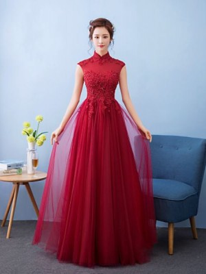 A Line High Neck Floor Length Tulle Bridesmaid Dress with Appliques