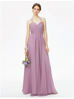 A Line Halter Floor Length Chiffon Bridesmaid Dress with Appliques Pleats Criss Cross Ruche
