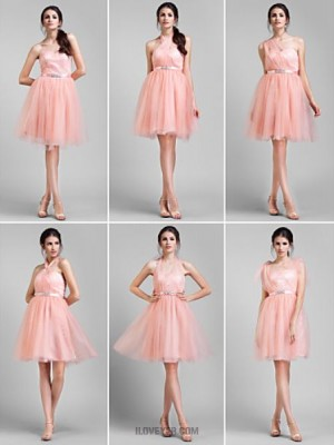 A Line Jewel Neck Knee Length Tulle Bridesmaid Dress with Beading Sash Ribbon Side Draping Ruching